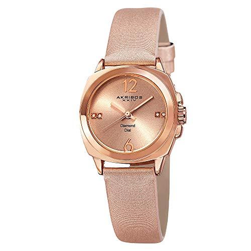 (Akribos XXIV Women's Genuine Diamond Watch - Swiss Quartz Movement On Sunburst Effect Dial With Satin Over Nubuck Leather Strap - AK742)