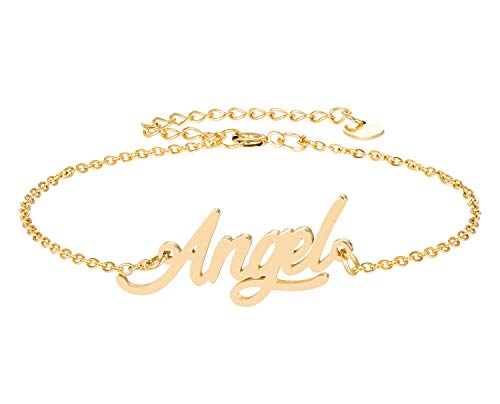 HUAN XUN Angel Name Bracelet for Womens Girls Jewelry Gifts Stainless ()
