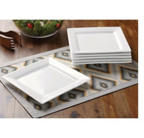 Oven Safe Square Plates - Better Homes and Gardens White, Square Porcelain Salad Plates, Microwave Safe and Oven Safe, Set of 6