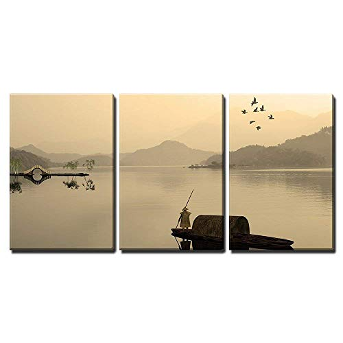 wall26-3 Piece Canvas Wall Art - Painting Style of Chinese Landscape for Adv or Others Purpose Use - Modern Home Decor Stretched and Framed Ready to Hang - 24