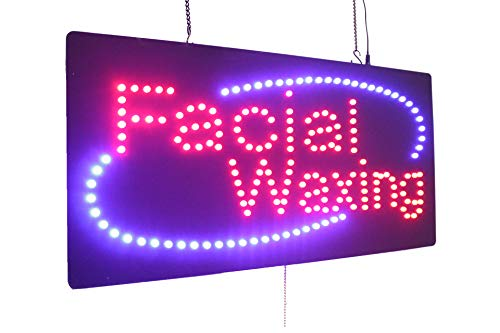 (Facial Waxing Sign, Super Bright High Quality LED Open Sign, Store Sign, Business Sign, Windows Sign)