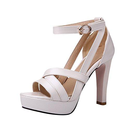Carolbar Women's Charm Fashion Ankle-strap High Heel Platform Sandals White H2COha5m