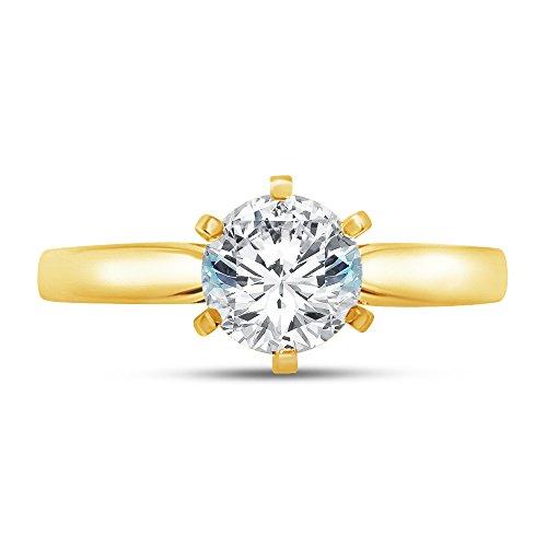 (Size - 9 - Jewel Tie 14K Yellow Gold Round Cut Six Prong Solitaire Engagement Ring Cubic Zirconia CZ 1.50ct.)