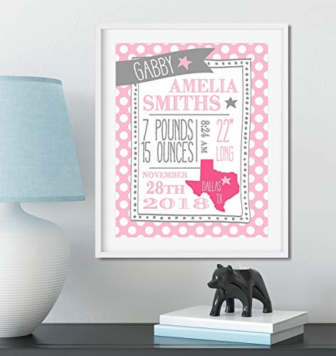 Personalized Baby Stats Sign for Baby Nursery Decor and Custom Colors to - Birth Handmade Announcements