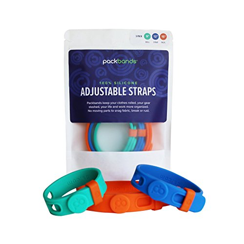 Packbands Bundle | Multi-Use Adjustable Storage Straps To Organize | Bundle of 3 Green 9'', Blue 12'', Orange 15'' | Band and Loop Organizer for Travel, Cords & Cables, Tools, Sporting Goods, and more! by Packbands Bundle | Multi-Use Adjustable Storage Straps To Organize | Bundle of 3