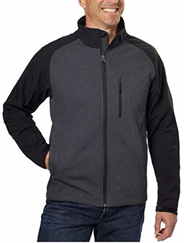 Kirkland Signature Men's Softshell Jacket (Large, Asphalt Hearther/Black) by Kirkland Signature