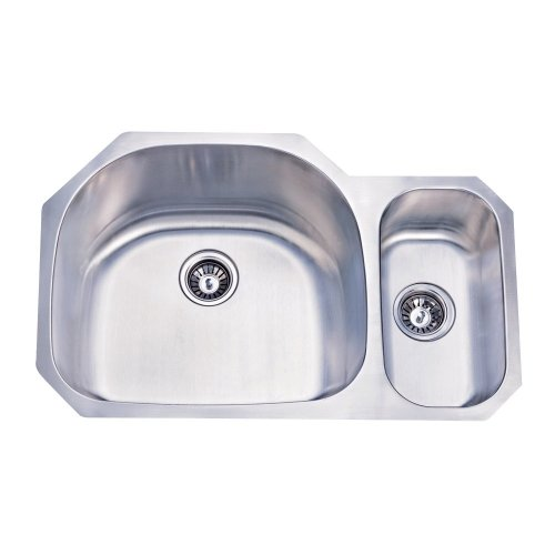 Kingston Brass KU322097DBN 31-1/2-Inch-by-20-11/16-Inch-by- 9-Inch-by- 7-Inch Double Bowl Stainless Steel Undermount Kitchen Sink, Brushed Nickel