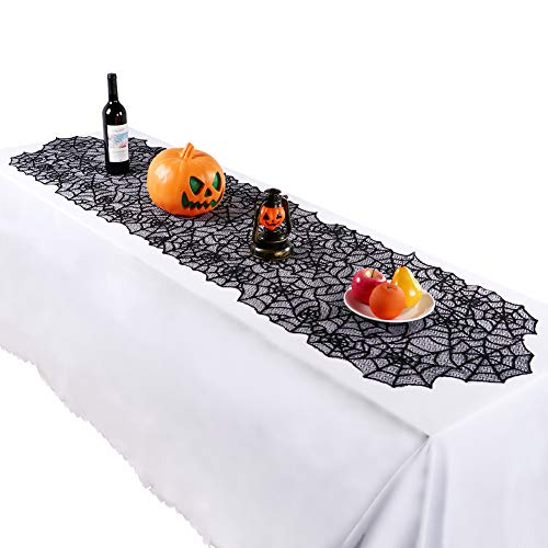 20x80-inch Halloween Table Runner, Halloween Black Lace Spiderweb Table Linen for Halloween Decorations Scary Movie Nights