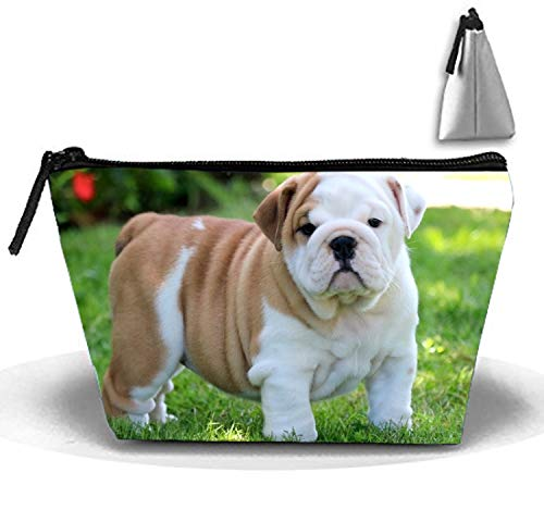 English Bulldog Puppy Travel Cosmetic Bag Portable Makeup Pouch Trapezoidal Pencil Holders ()
