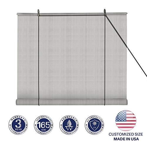 Windscreen4less Exterior Roller Shade Blinds Outdoor Roll Up Shade with 90% UV Protection Privacy for Deck Back Yard Gazebo Pergola Balcony Patio Porch Carport 4' W x 6' L Grey