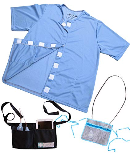 Heal in Comfort Mastectomy Shirt with Drain Pockets & Post Surgical Drain Holder - Size Medium Blue