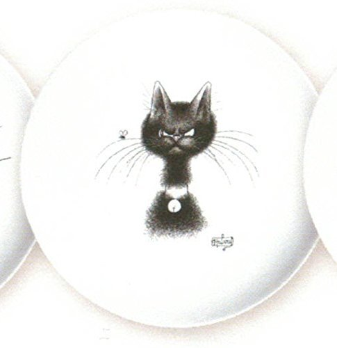 FRENCH VINTAGE CERAMIC DESSERT PLATE THE CAT BY DUBOUT THE FLY MOUSTACHE The Cat by Dubout Collection