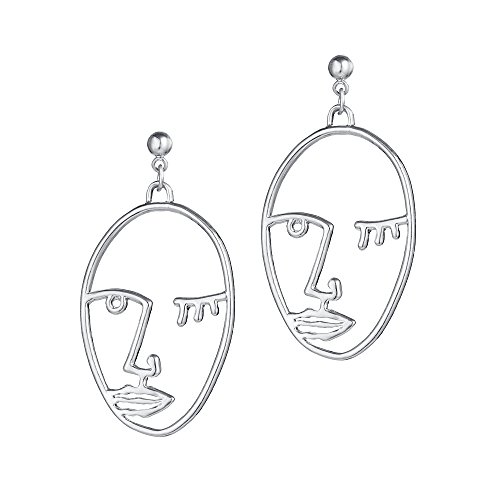 Metal Hollowed-out Silver Human Face Stereoscopic Profile Dangle Earrings Personality Fun Ear Jewelry (Platinum Light Three Hammered)