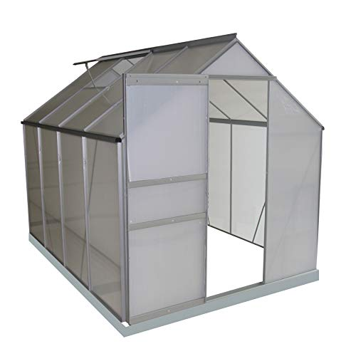 ALEKO GHA004 Outdoor Walk-in Poly-Carbonate Greenhouse with Aluminum Frame 98 x 75 x 77 Inches ()
