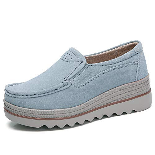 HKR-JJY3088huise40 Women Slip On Platform Sneakers Round Toe Suede Loafers Thick Sole Wedge Working Shoes Grey 8 W US -