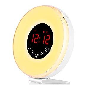 Réveil Lumière Simulateur d'Aube et de Crépuscule Lumineux Lampe de Chevet LED Tactile Contrôle avec 10 Niveaux de…