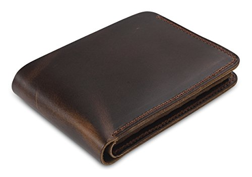 Italian Handmade Brown Leather Boots - Secret Felicity Men's Leather Bifold Wallet,Entirely Handmade,Best Gift for Father's Day (SF1001) (Dark Brown)