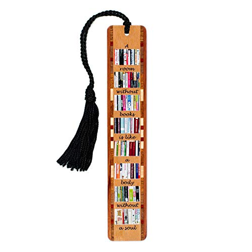 Unique Personalized Bookmarks - A Room Without Books Quote Wooden Bookmark with Tassel - Search B072HHMLV5 to see personalized version