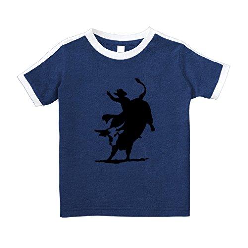 Rodeo Cowboy Bull Riding Cotton Short Sleeve Crewneck Unisex Toddler T-Shirt Soccer Tee - Royal Blue, 5/6T
