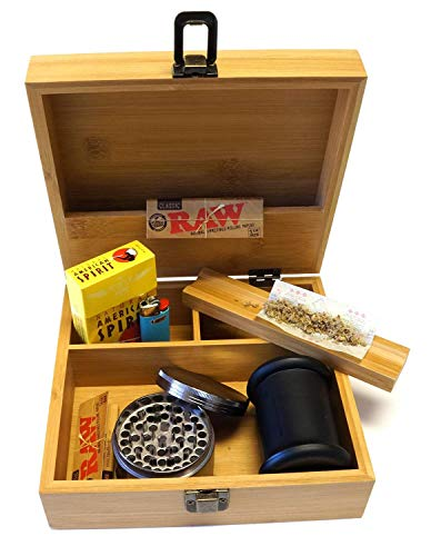 Smoke Box - Cali Factory Large Size Bamboo Box Storage Organizer - Classic and Neat Design Stash Box, for Smoking Accessory Item# LGSB062118-1