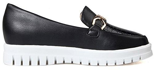 Summerwhisper Womens Trendy Bout Rond Bas Mocassins Haut Chaussures Plate-forme Slip-on Sneakers Noir