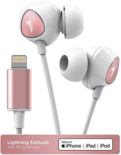 Thore (Updated 2018) Wired in Ear Headphones for iPhone Xr, Xs Max Earphones with Mic (White/Rose Gold) Lightning MFi Certified by Apple Earbuds (Remote Microphone Volume) (V100 Retail Packaging) ()