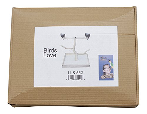 Birds LOVE Tabletop T-Stand Deluxe Play Gym Bird Stand for Cockatiels Conures African Greys Amazons-Includes 2 top perches Easy Assembly Easy to Clean this stand by Birds LOVE (Image #4)