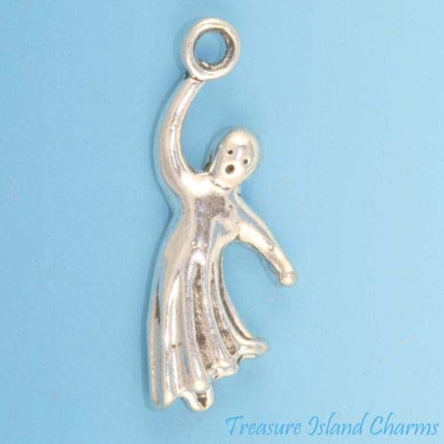 Ghost Flying Halloween 3D 925 Solid Sterling Silver