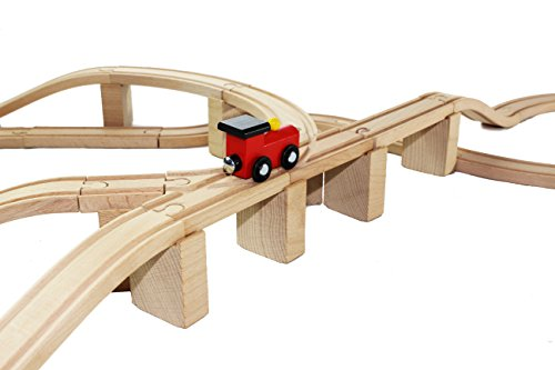 62 Pieces Wooden Train Track Expansion Set + 1 Bonus Toy Train -- NEW Version Compatible with All Major Brands Including Thomas Battery Operated Motorized Ones by Joyin Toy