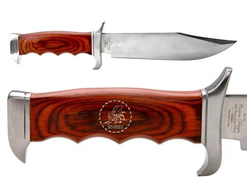 Elkridge 12.5'' Full Tang Wood Hanlde Fixed Blade Knife ER012 Seabees Emblem