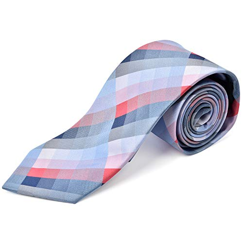 Ike Behar Boys 52'' Blue And Light Red Plaid Tie by Ike Behar