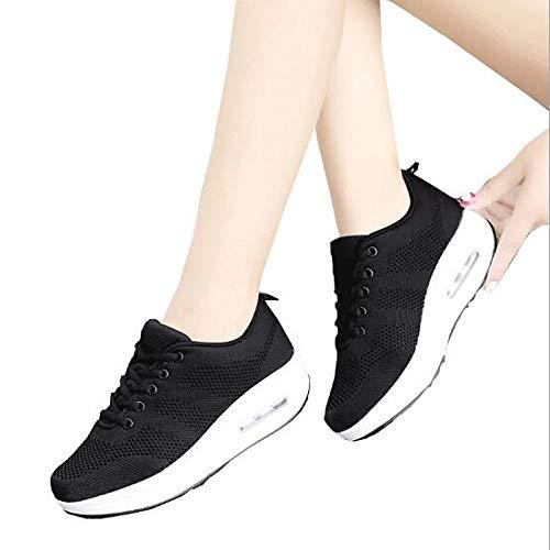ZHZNVX Zapatos de Mujer de algodón/Tela Spring Comfort Sneakers Platform Blanco/Negro / Morado Black