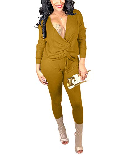 - Women's Sexy Two Piece Outfits - Multiwear Long Sleeve Bandage Top + Skinny Pants Sets Medium Yellow