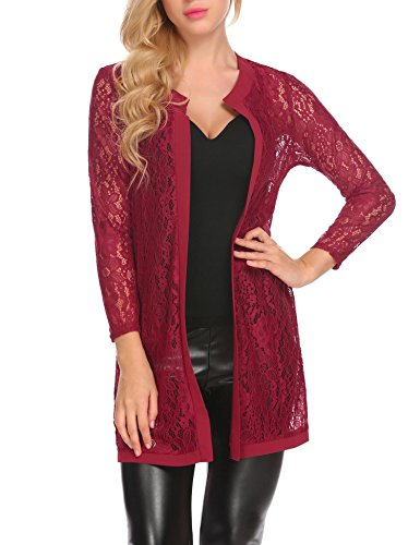 Party Cardigan - Bulges Women Floral Lace Cardigan Shrug 3 4 Sleeve Front Open Bolero Blouse Crop Top Red Medium