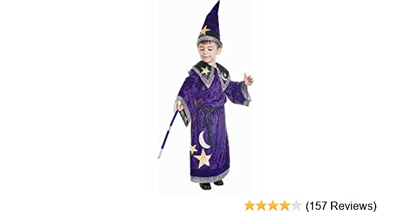Boys Wizard Purple Silver Stars Fancy Dress Up Party Costume Halloween Outfit