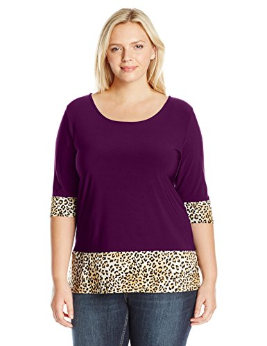 - Star Vixen Women's Plus Size 3/4 Sleeve Scoop Neck Solid Colorblock Tunic Top with Leopard Cuffs, Plum/Leopard, 3X