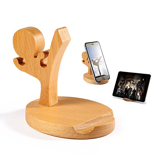 BESTOOL Wooden Phone Holder-Natural Wood Creative Cute Cell Phone Holder for Desk Cell Phone Stand For Iphone Ipad Samsung Phone Tablet Plate PC and so on (Kong Fu Boy)