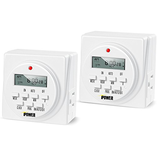 iPower 2-PACK GLTIMEDWEEKX2 7-Day Dual Outlet Digital Program Timer,120-volt,Can be Configured in Numerous Timing Schedules,Able to Run 8 Separate Schedules per Day,15 amp,1 Minute Intervals…