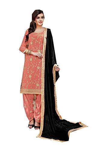 an Designer Partywear Women Ethnic Diwali Traditonal Light Orange Salwar Kameez. ()