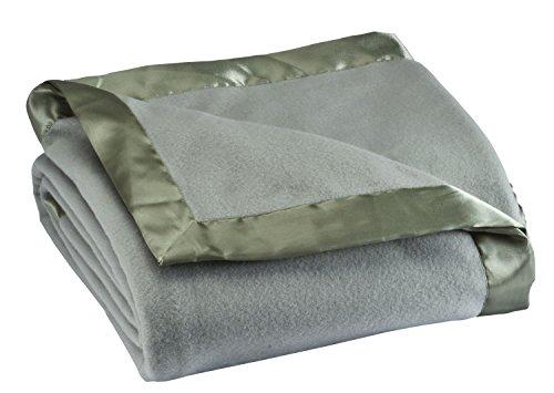 - Fleece Blanket with Satin Trim, Full Queen Size, Sage