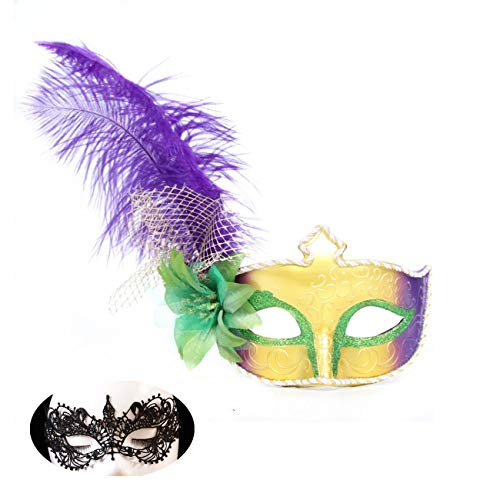 Haojing Masquerade Carnival Mardi Gras Costume Venice Halloween Party Mask with Feather Flower and Gift(Green Flower+Lace) ()