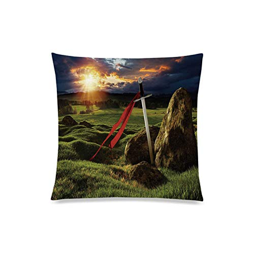 C COABALLA King Comfortable Square Pillowcases,Arthur Camelot Legend Myth in England Ireland Fields Invincible Sword Image for Home,Double Side Print with Zipper 16