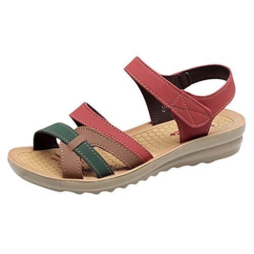 BODOAO Women Flat Summer Leather Sandals Wedges Comfort Big Size Shoes Red ()