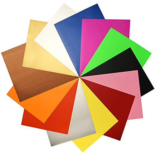 """JANDJPACKAGING Assorted Colors 12 Sheets 12""""x 10"""" Transfer Bundle Iron on HTV for T Shirts, Hats, Clothing Heavy Duty Vinyl for Silhouette Cameo, Cricut or Heat Press Machine Tool"""