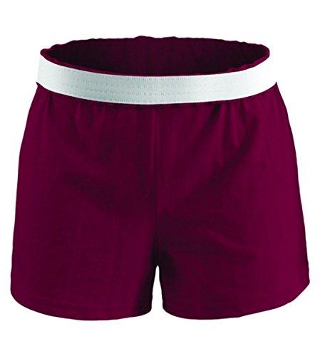 (Soffe Big Girls V-Notch Legs Exposed Elastic Waist Knit Short, Maroon, X-Large)