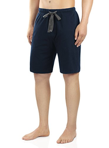 David Archy Men's Soft Comfy Cotton Sleep Short Lounge Short Pants (Navy Blue, L) by David Archy