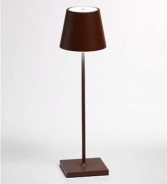 LED Tischleuchte Retro dimmbar Tischlampe mit Akku orange aufladbar mit Netzteil