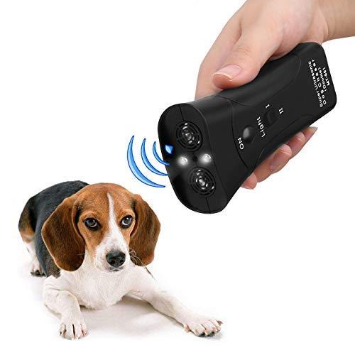 GROWUPER Handheld Dog Repellent, Dual Channel Electronic Animal Repellent, Handy Ultrasonic Dog Deterrent for Outdoor Camping Garden, Bark Stopper + Good Behavior Dog Training (Black)