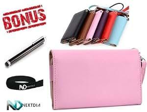 Quaroth Samsung Galaxy Stellar 4G I200 Pink EPI Leather Bifold Wristlet Travel Wallet Case / Cover + Long Black Stylus...