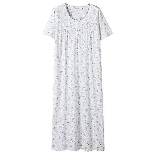 Keyocean Nightgowns for Women All Cotton Short Sleeve Long Nightgowns Soft Lightweight Sleepwear, Purple Floral